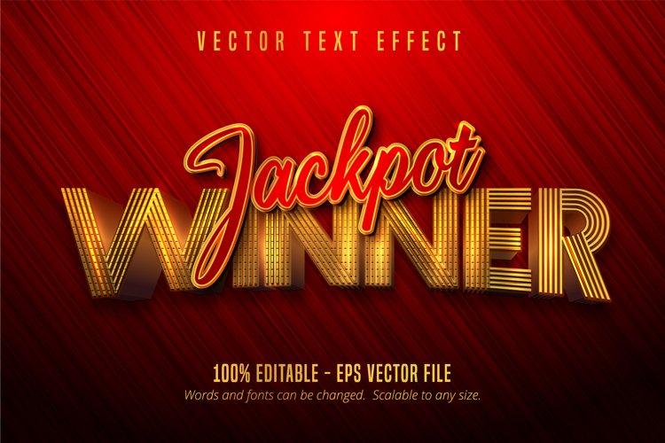Jackpot winner text, shiny golden editable text effect example image 1