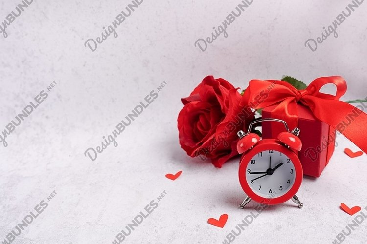Valentines Day greeting card red alarm clock, gift box example image 1