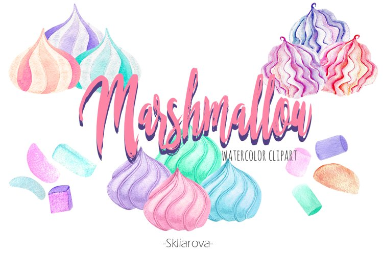 Marshmallow watercolor clip art example image 1