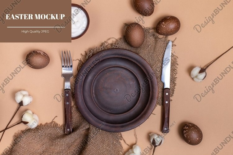 Sustainable Easter mockup with clay plate and eggs