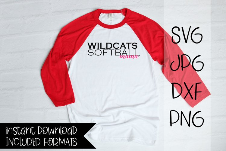 Wildcats Softball Mama, A Softball SVG example image 1