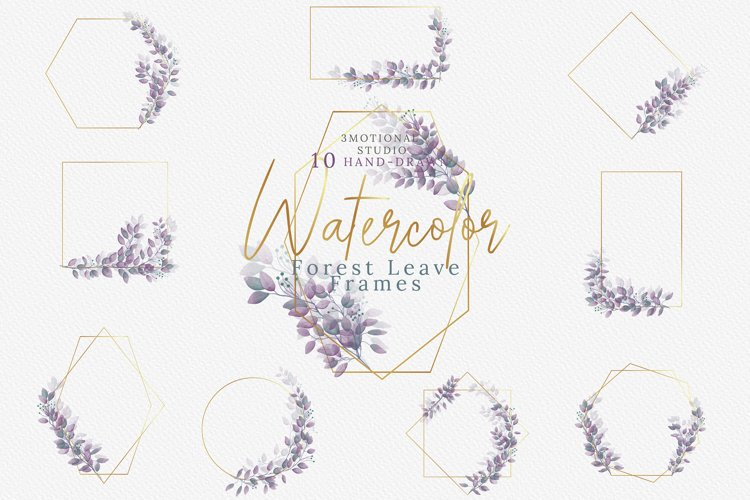 Watercolor Geometric Forest Leaves Frames