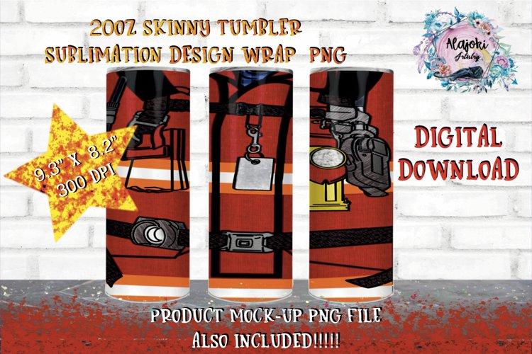 20oz| Red Fireman | Sublimation Tumbler Wrap| Seamless example image 1
