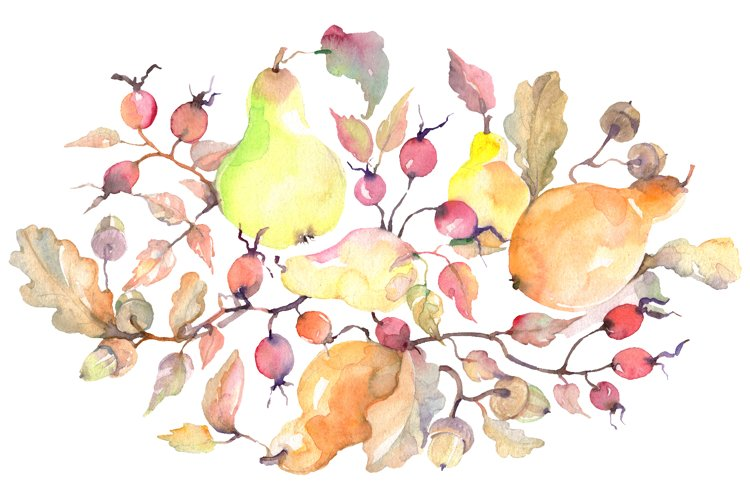 Branch of pears Watercolor png example image 1