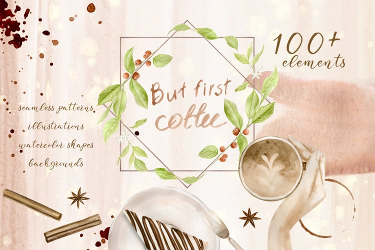 Watercolor Coffee Set Clipart and Seamless Paper example image 1