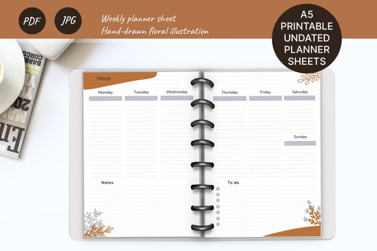 Undated weekly planner A5. Printable Monday week start example image 1