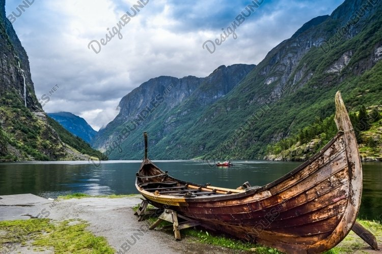 The Viking boat in Gudvangen. Nereyfjord. Norway.