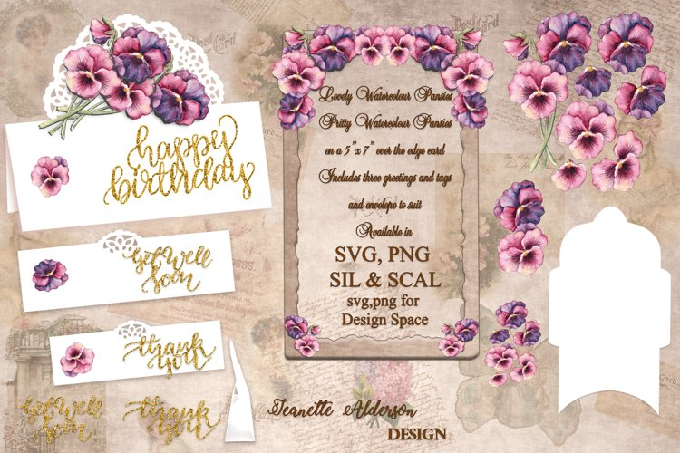 Watercolour Pansies Print and Cut SVG overedge Greeting Card example image 1