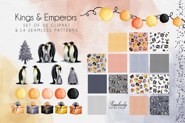 Christmas Penguin Sublimation Clipart and Seamless Patterns example image 1