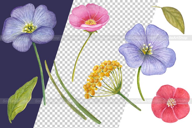 Watercolor Wildflower PNG Summer clipart, Floral bouquet png example 1