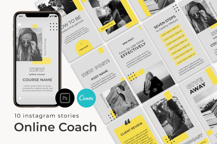 Coach Instagram Stories Template Canva and PSD example image 1