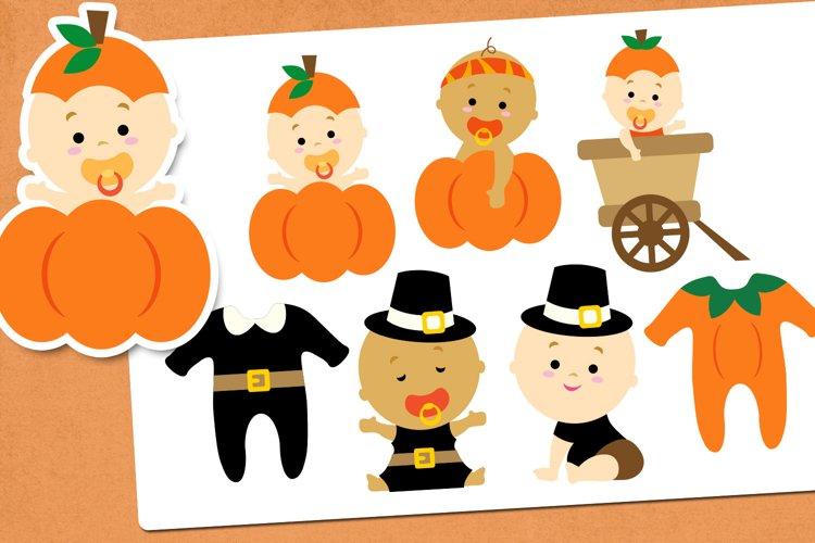 Thanksgiving Baby Illustrations Clip Art