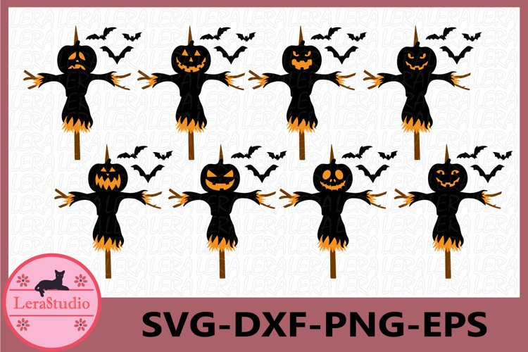 Scarecrow Svg, Pumpkin Faces Svg, Scarecrow Halloween Svg example image 1