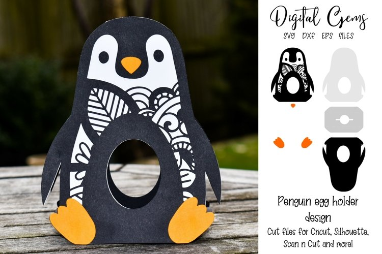 Penguin Easter egg holder design SVG / DXF / EPS example image 1