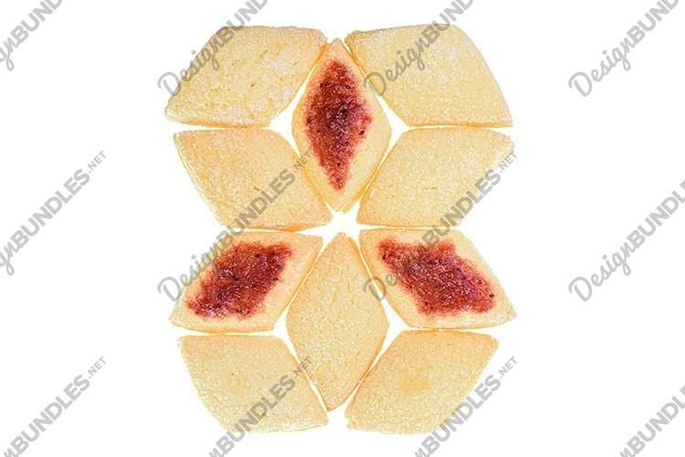 Stock Photo - Homemade shortbread cookies with jam isolated example image 1