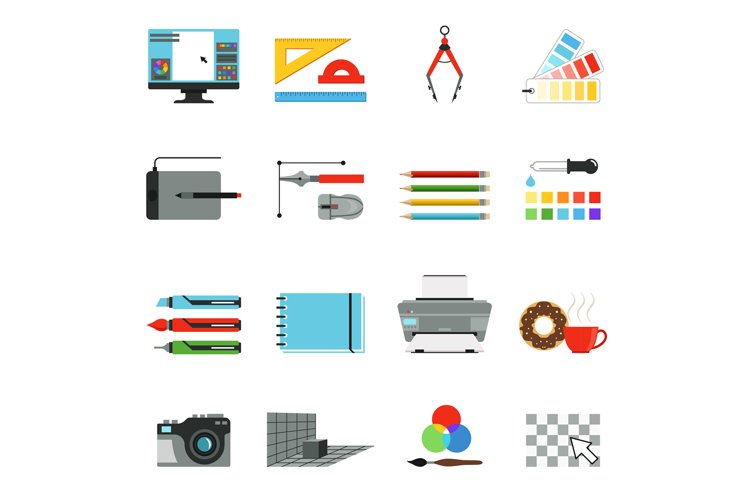 Graphic and computer design. Different tools for artists and example image 1