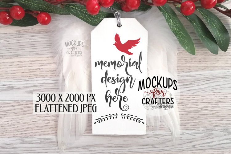 Wood Ornament/Tag Mock-Up, feather wings, grieving, loss example image 1