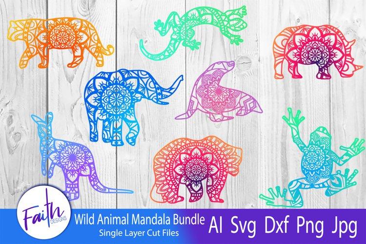 Wild Animal Mandala Bundle SVG example image 1