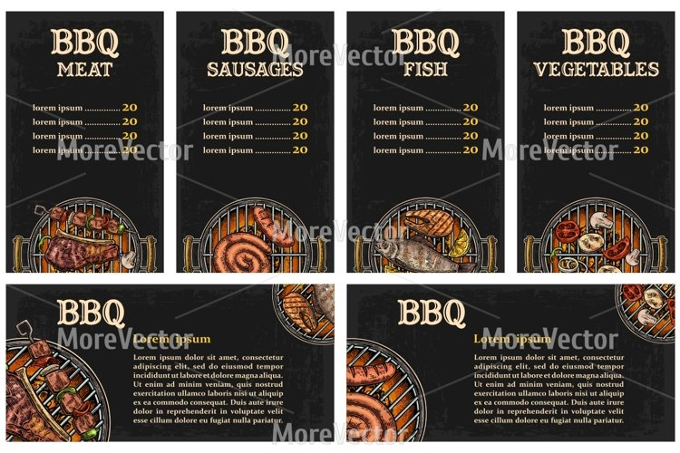 Barbecue grill top view with charcoal, mushroom, tomato, pepper, sausage, lemon, kebab, fish and beef steak. example image 1