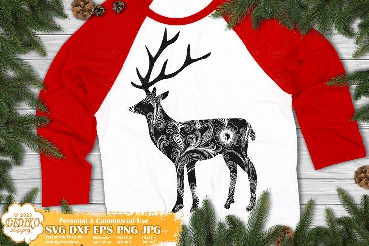 Reindeer SVG   Mandala Christmas SVG   Zentangle Animal SVG example image 1