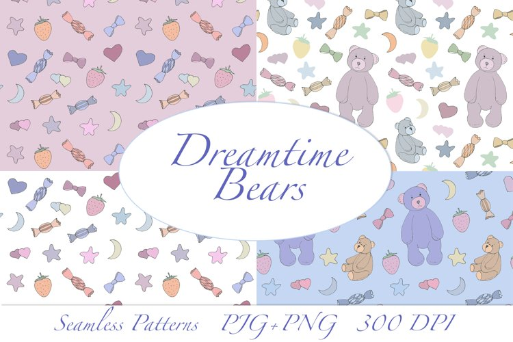Dreamtime Bears - Doodle Style patterns, JPG, PNG example image 1