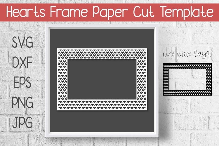 Hearts Frame Paper Cut Template Design SVG example image 1