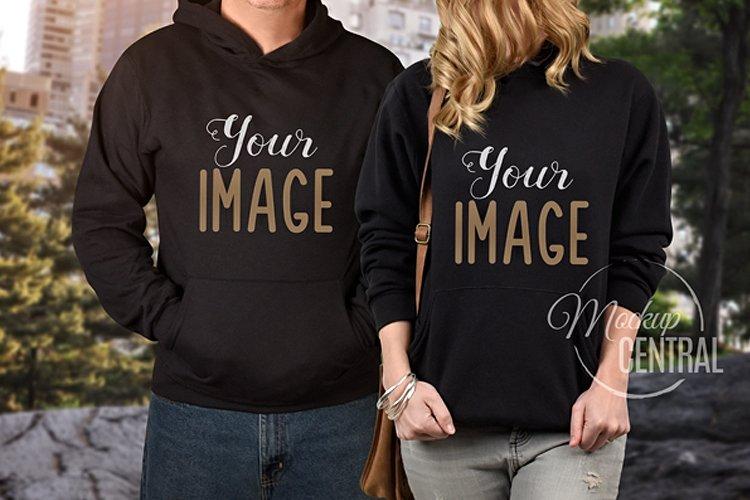 Couple's Matching Love Black Hoodie Urban Mockup JPG example image 1