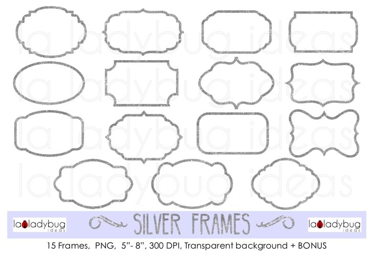Silver frames. Clip art. Glitter silver frames. example image 1