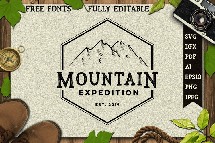 vintage hand drawing mountain logo example image 1