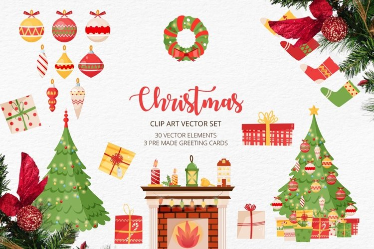 Vector clip art with christmas elements and greeting cards