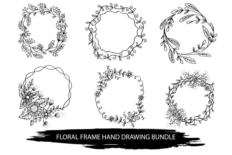 Hand drawn floral frame Bundle