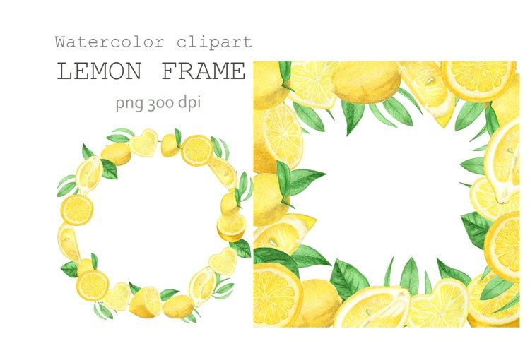 Lemon watercolor Frame.Lemon watercolor paint,lemon JPG.