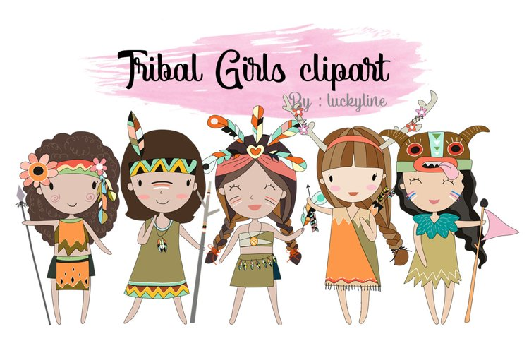 Tribal girls , girl Clipart Instant Download PNG file - 300 example image 1