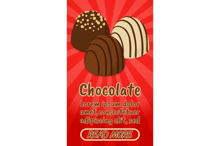 Chocolate concept banner, comics isometric style example image 1