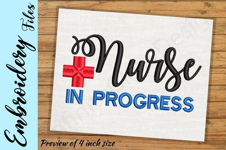 Nurse In Progress - Embroidery Design files example image 1