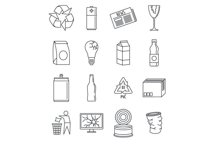 World recycles day icon set, outline style example image 1