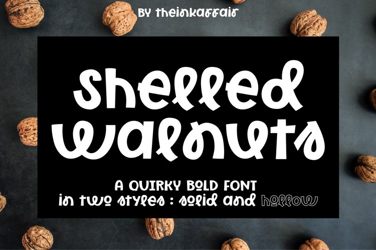 Shelled Walnuts, solid and hollow cuttable font example image 1