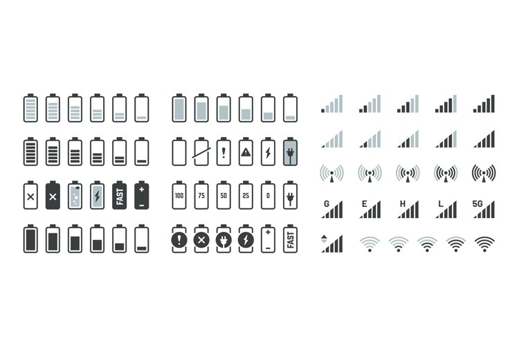Battery icons. Black charge level gsm and wifi signal streng example image 1