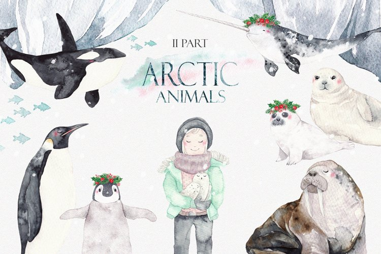 ARCTIC ANIMALS watercolor set PART 2 example image 1