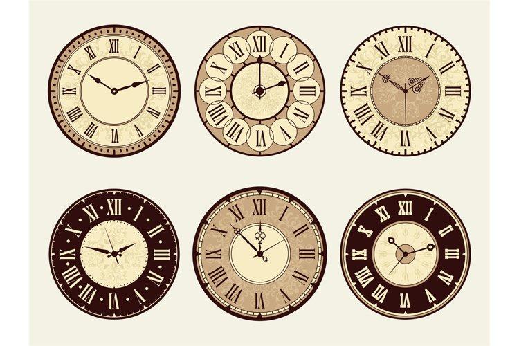Vintage clock. Elegant antique metal watches vector illustra example image 1