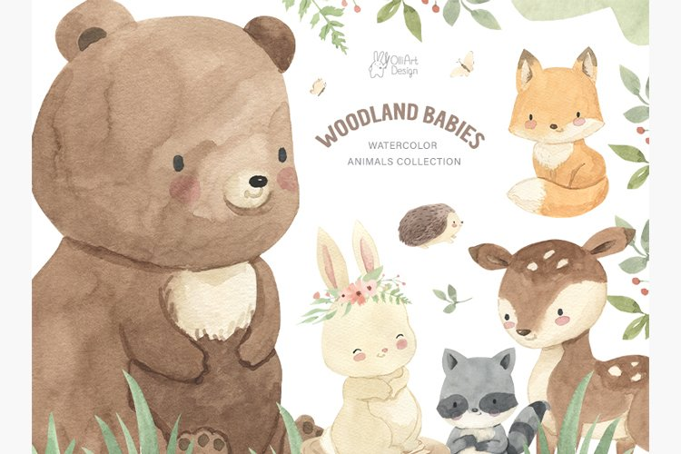 WOODLAND ANIMALS. Watercolor clipart example image 1