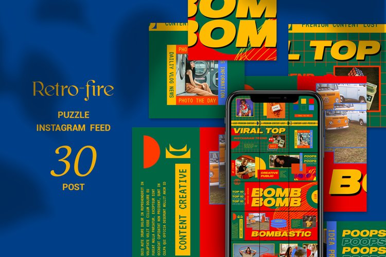 Retro-fire Puzzle Instagram Feed example image 1