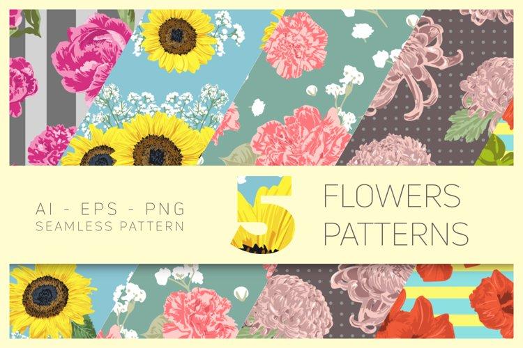 Vector Flowers Seamless Pattern Set