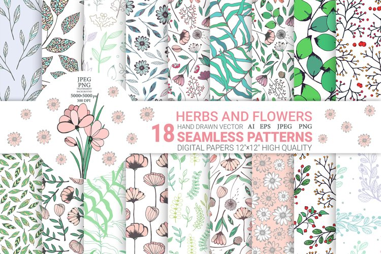 Hand Drawn Floral Elements Seamless Patterns. Digital papers