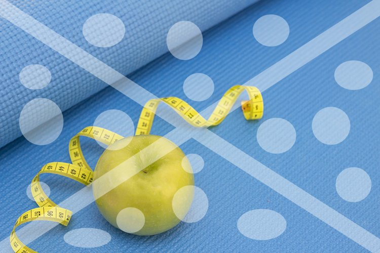 green apple, measuring tape on a sports mat of blue color. p example image 1