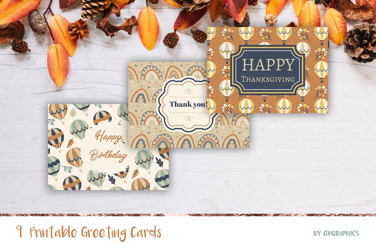 9 Fall Greeting Cards, Printable Thanksgiving Cards example image 1