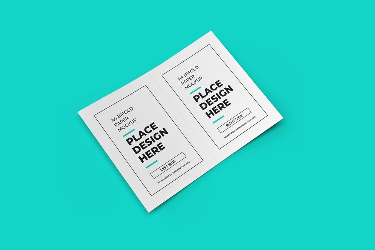 Bifold Flyer 3D Mockup Template Photoshop example image 1