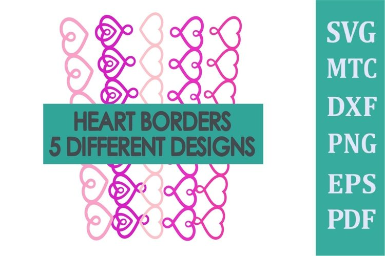Border HEARTS for Scrapbook/Card Making Bundle SVG File