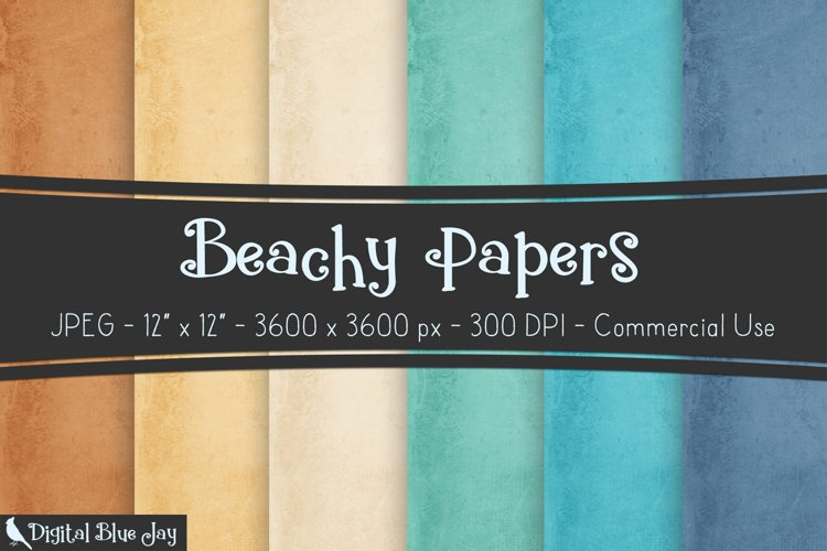 Digital Scrapbook Paper Backgrounds - Beachy