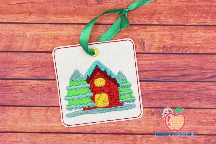 Christmas House Covered with Snow ITH Ornament